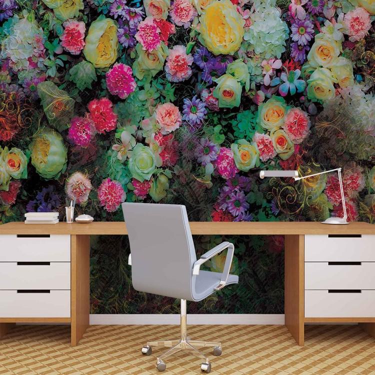 Flowers Colours Design Wallpaper Mural