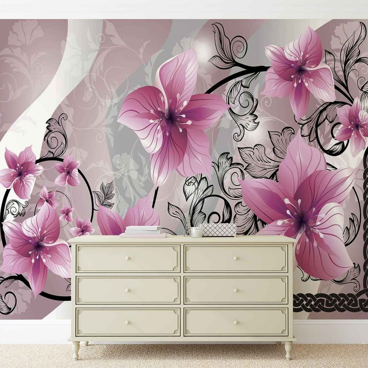 Flowers Floral Pattern Wallpaper Mural