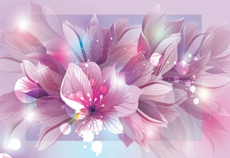 Flowers Modern Pink And Purple Wallpaper Mural