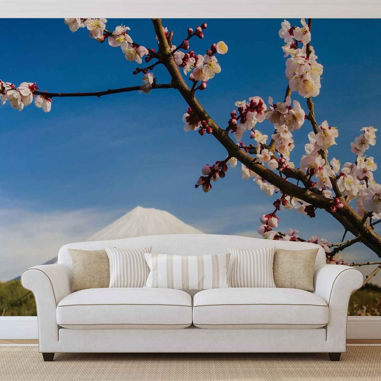 Flowers Mountain Snow Nature Wallpaper Mural