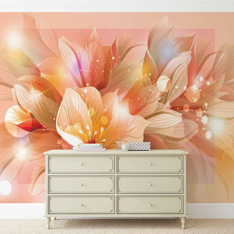 Flowers Nature Orange Wallpaper Mural