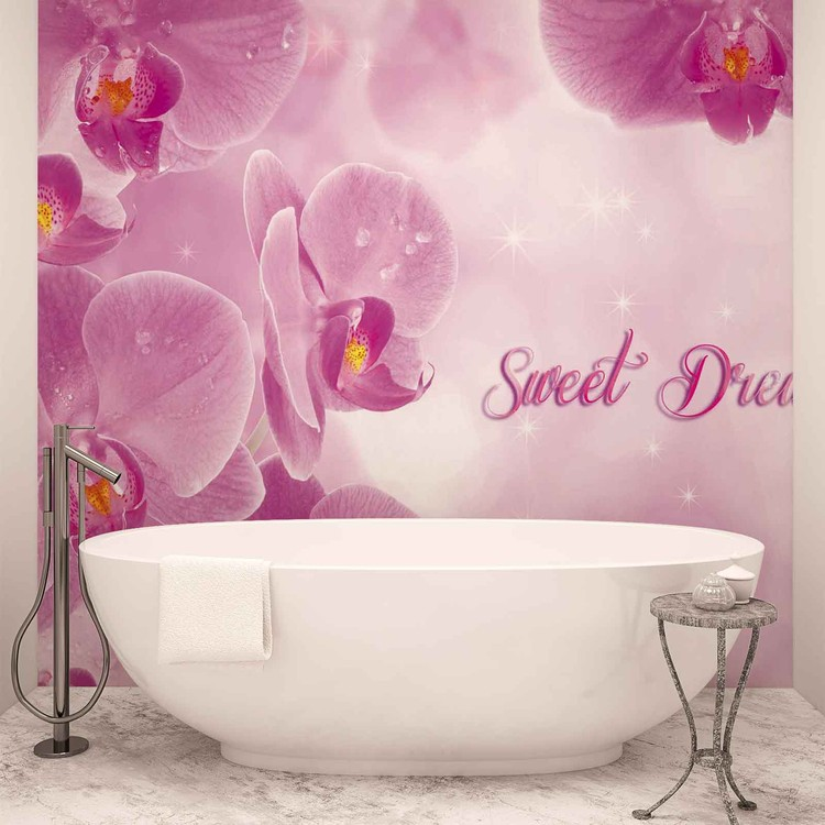 flowers orchids pink wall paper mural buy at europosters