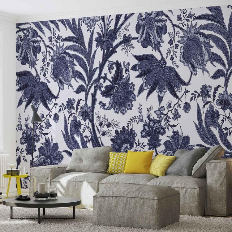 Flowers Plants Pattern Vintage Wallpaper Mural