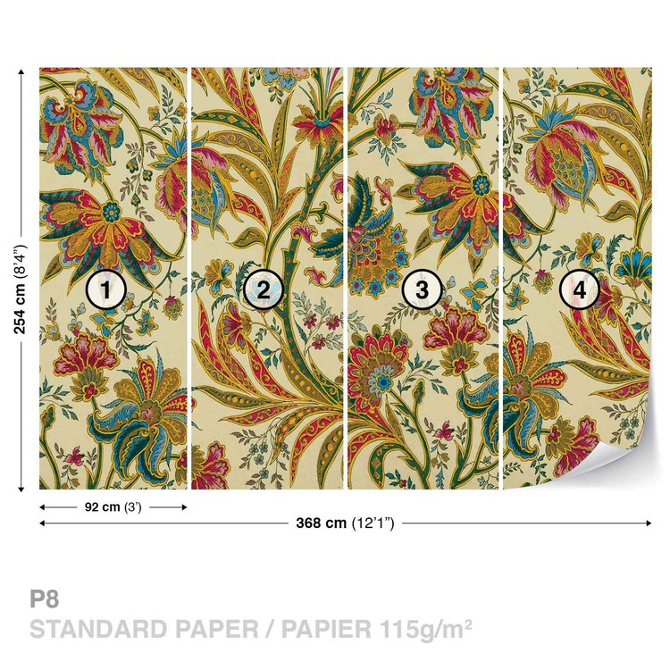 Flowers Plants Pattern Vintage Wallpaper Mural
