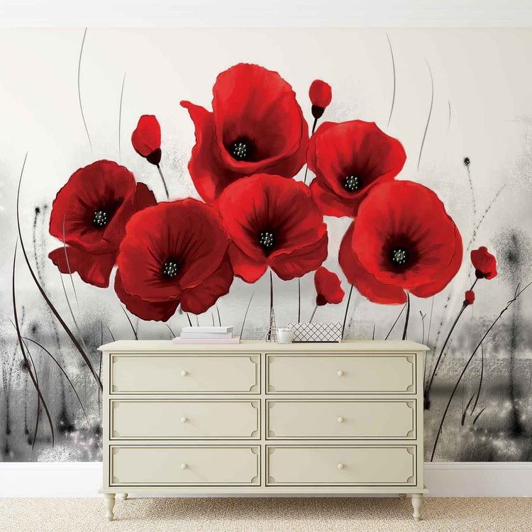 Flowers Poppies Nature Wallpaper Mural