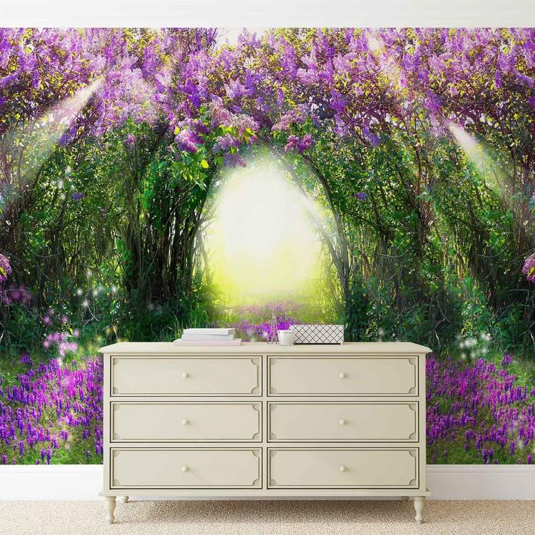 Flowers Purple Forest Light Beam Nature Wallpaper Mural