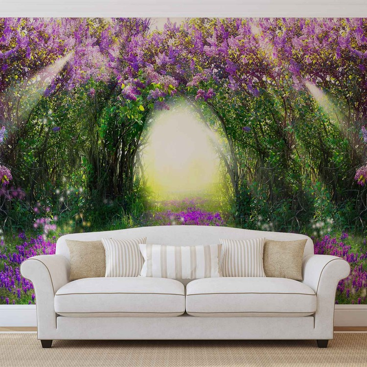 Flowers Purple Forest Light Beam Nature Wall Paper Mural Buy at