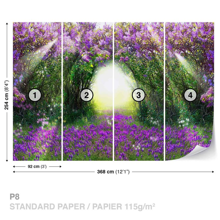 Flowers Purple Forest Light Beam Nature Wallpaper Mural