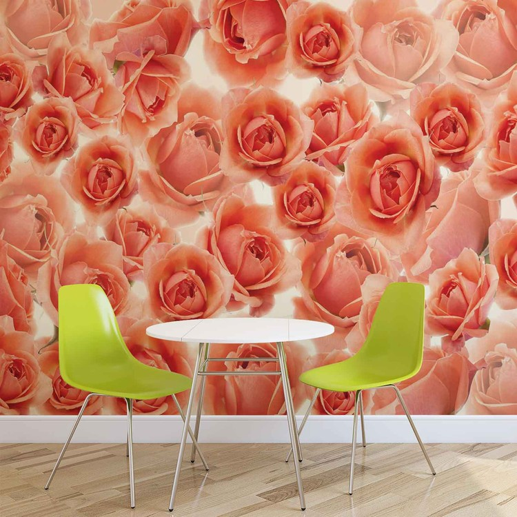 Flowers Roses Red Wallpaper Mural