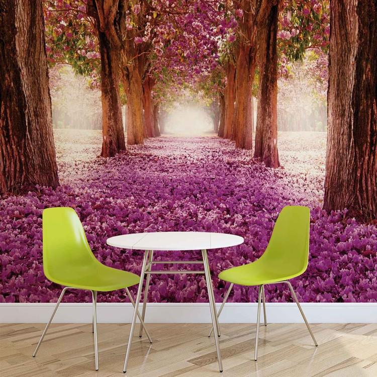 Flowers Tree Path Pink Wallpaper Mural