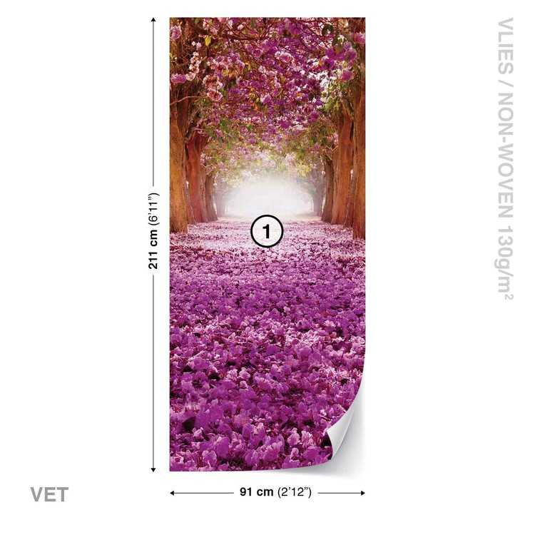 Flowers Tree Path Pink Wallpaper Mural