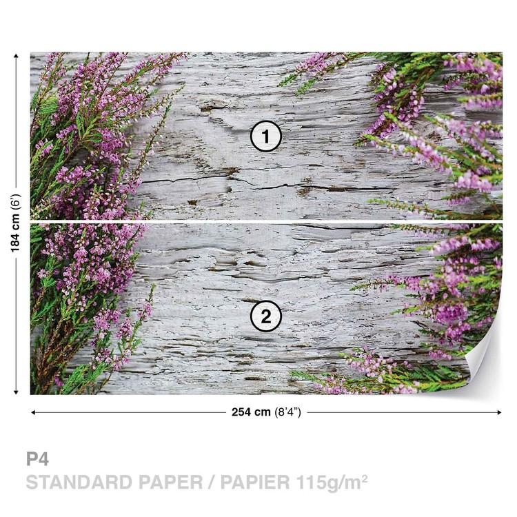 Flowers Wood Wallpaper Mural