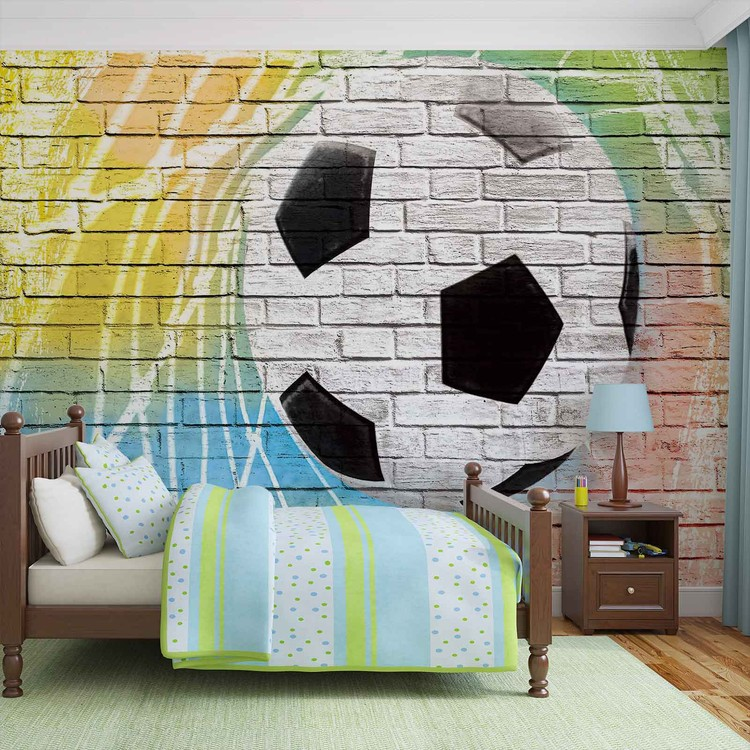 Football Wall Bricks Wallpaper Mural