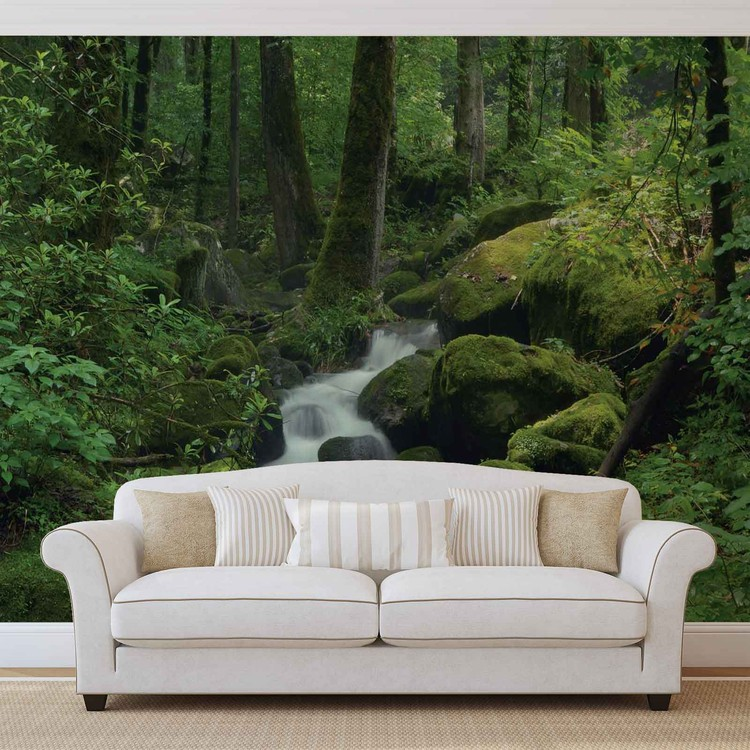 Forest Waterfall Rocks Nature Wallpaper Mural