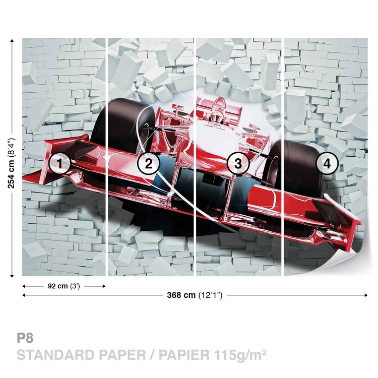 Formula 1 Racing Car Bricks Wallpaper Mural
