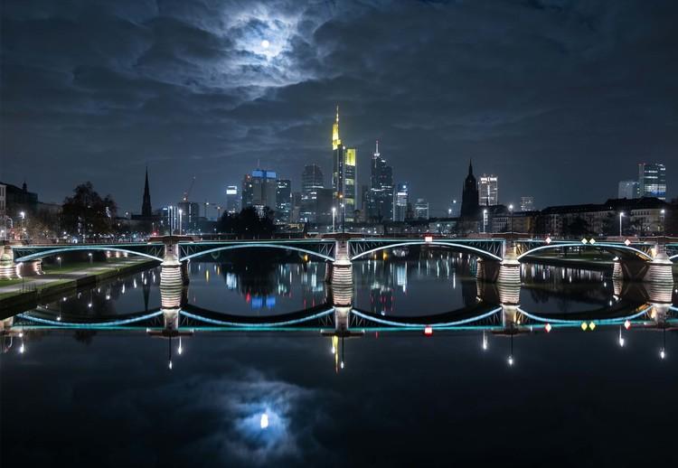 Frankfurt At Full Moon Wallpaper Mural