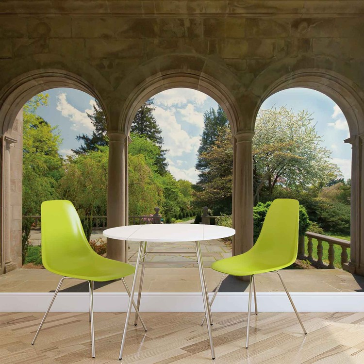 Garden Through Arches Wallpaper Mural