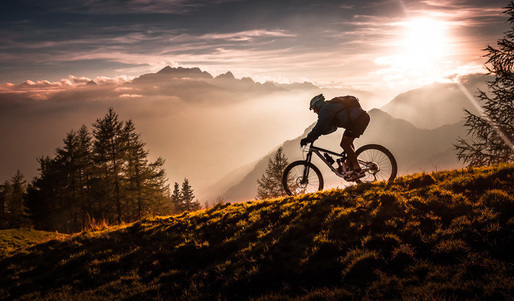 Golden hour biking Wallpaper Mural