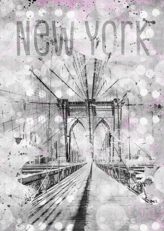 Graphic Art NEW YORK CITY Brooklyn Bridge Wallpaper Mural