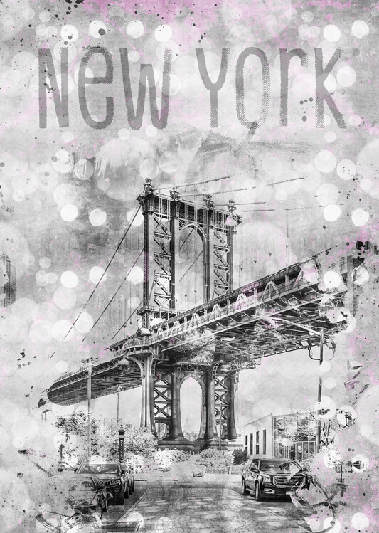 Graphic Art NEW YORK CITY Manhattan Bridge Wallpaper Mural