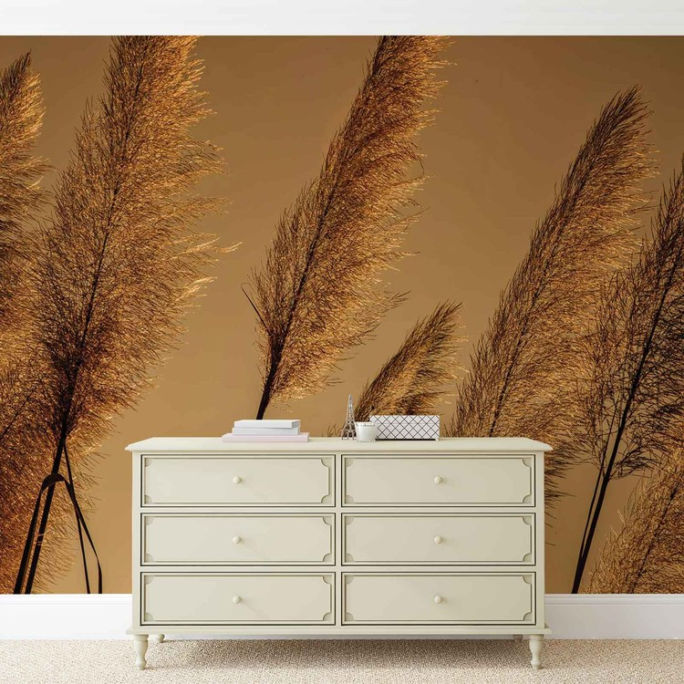 Grasses Blowing In The Wind Wallpaper Mural