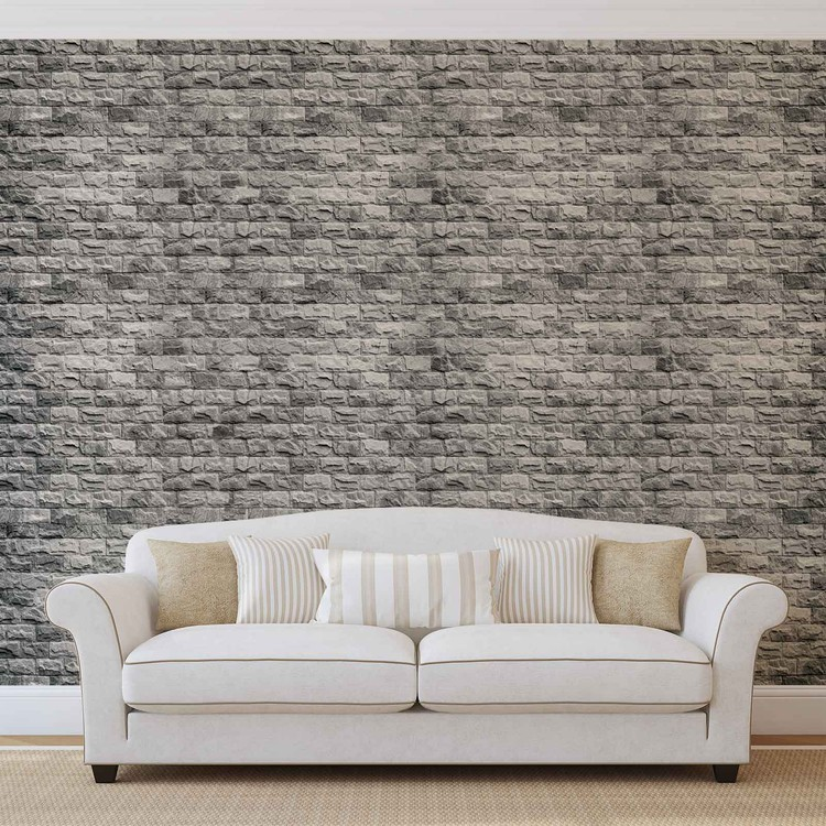 Gray Brick Wall Wallpaper Mural