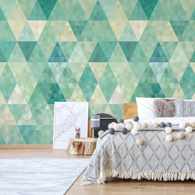 Green Modern Geometric Pattern Wallpaper Mural
