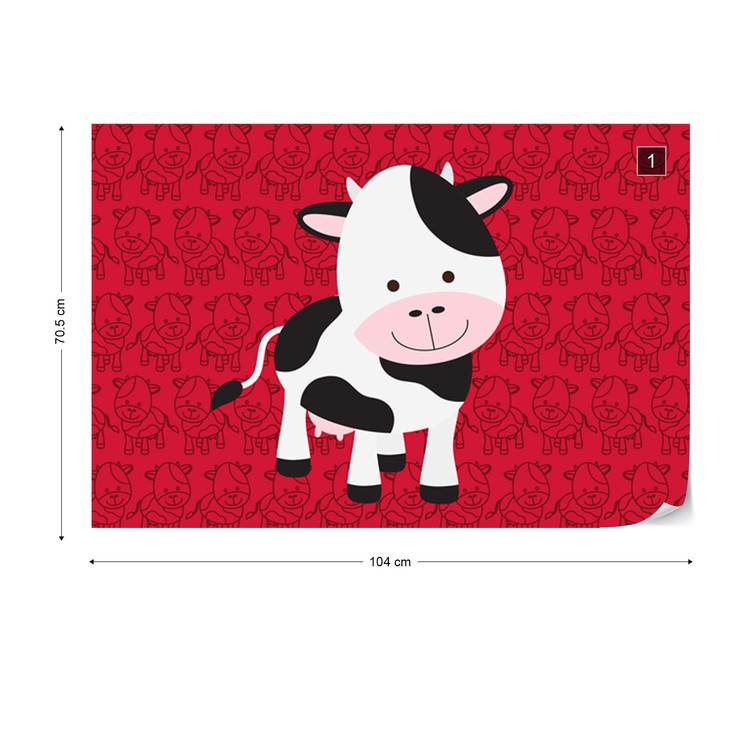 Happy Cartoon Cow Wall Paper Mural Buy At Europosters