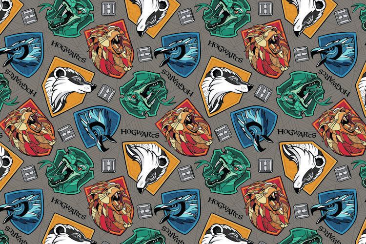 Wallpaper Mural Harry Potter - Hogwarts crests