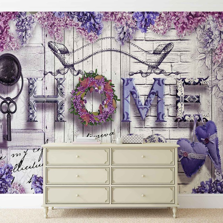 Home Flowers Vintage Wallpaper Mural