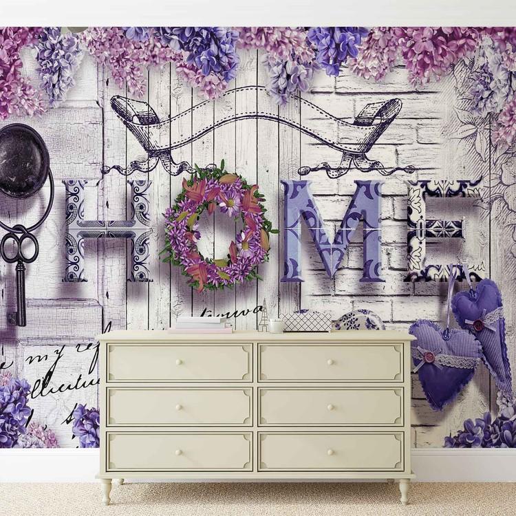 Home Flowers Vintage Wallpaper Mural