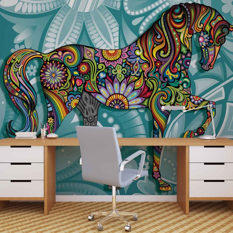 Horse Flowers Abstract Colours Wallpaper Mural