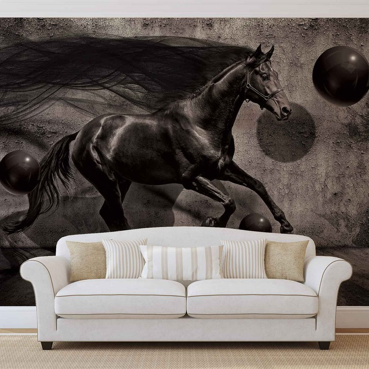 Horse Spheres Black 3D Wallpaper Mural