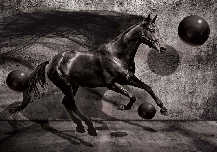 Horse Spheres Black 3d Wall Paper Mural Buy At Europosters