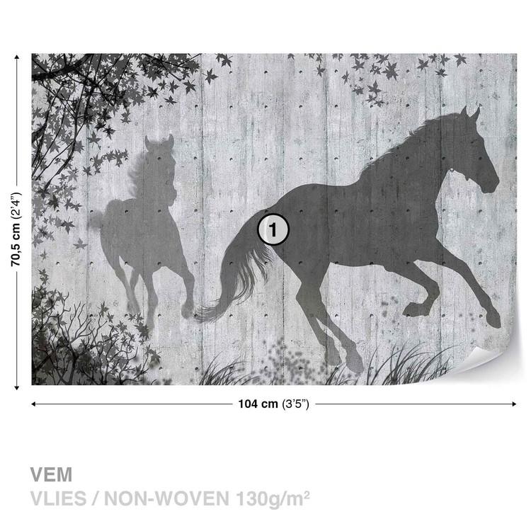 Horses Tree Leaves Wall Wallpaper Mural