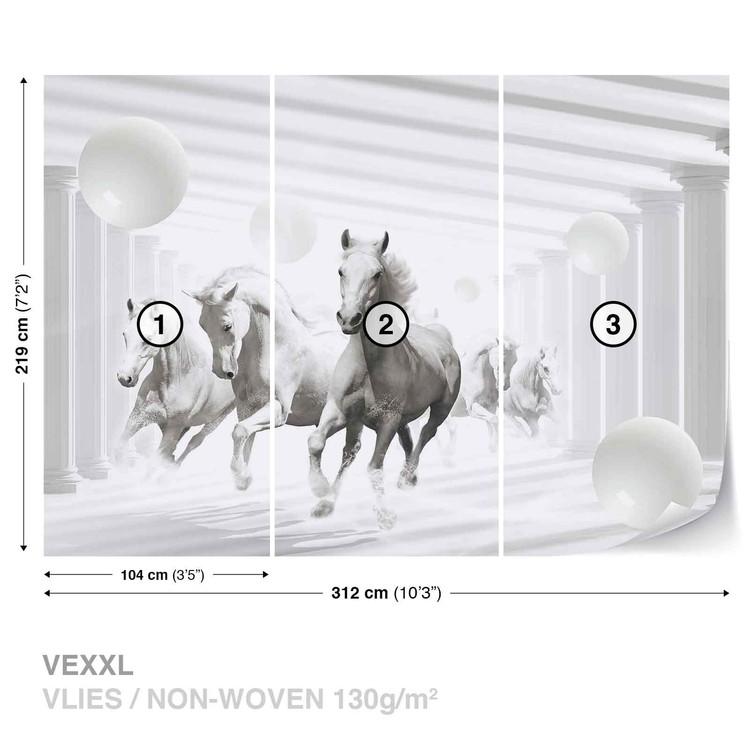 Horses White Spheres Wallpaper Mural