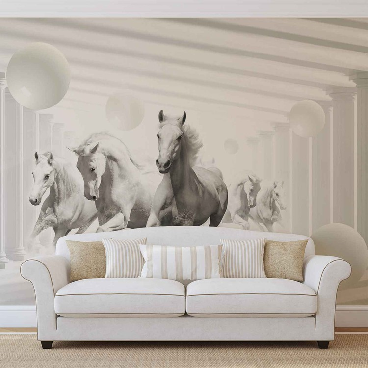 Horses White Spheres Wallpaper Mural