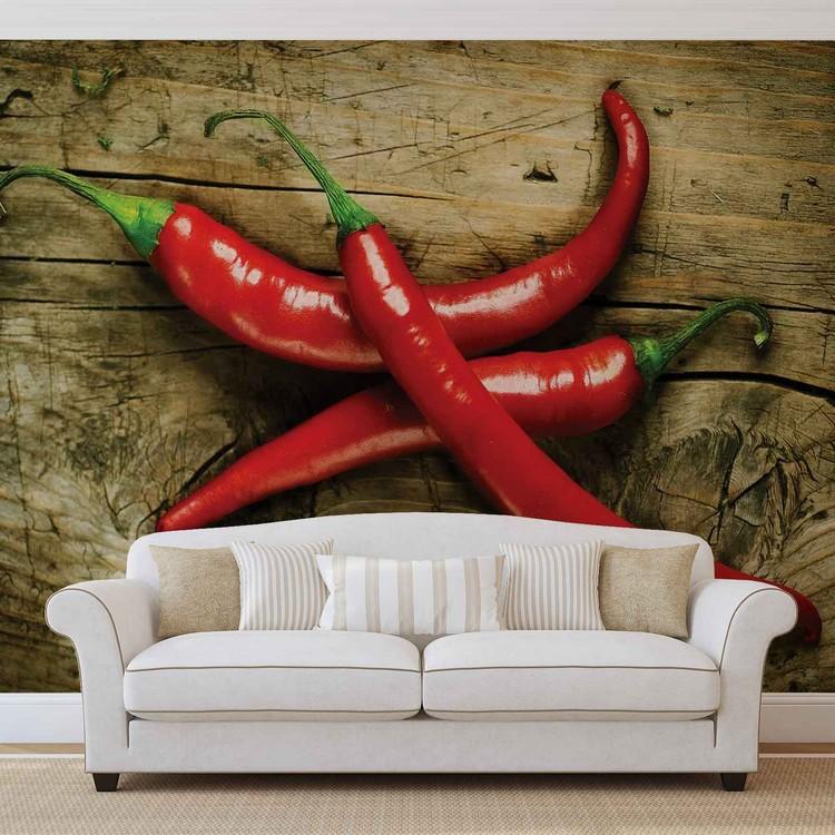Hot Chillies Food Wood Wallpaper Mural