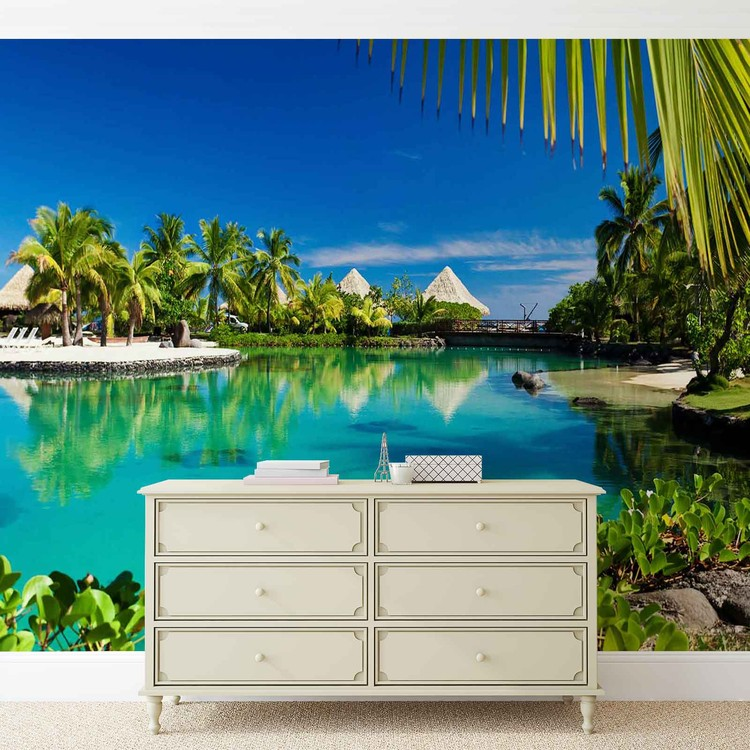 Island Palms Tropical Sea Wall Paper Mural Buy at EuroPosters