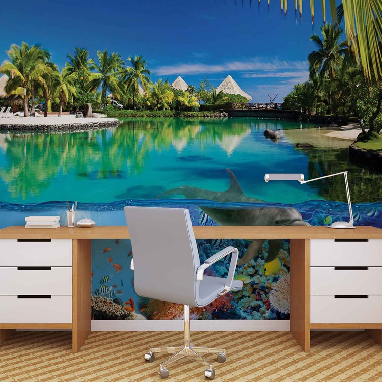 Island Paradise With Corals Dolphin Wallpaper Mural