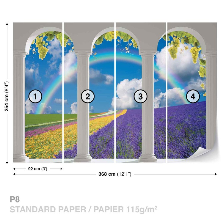 Lavendar Field Nature Arches Wallpaper Mural