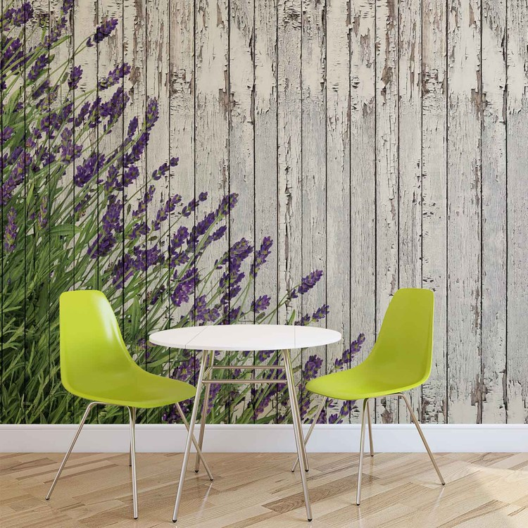 Lavendar Wood Planks Wallpaper Mural
