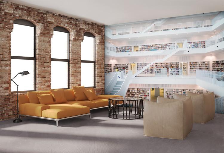 Library - White Wallpaper Mural