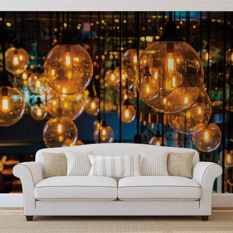 Light Bulbs Vintage Retro Wallpaper Mural