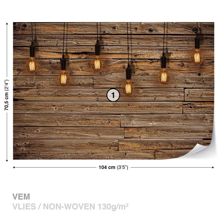 Light Bulbs Wood Plankets Wallpaper Mural