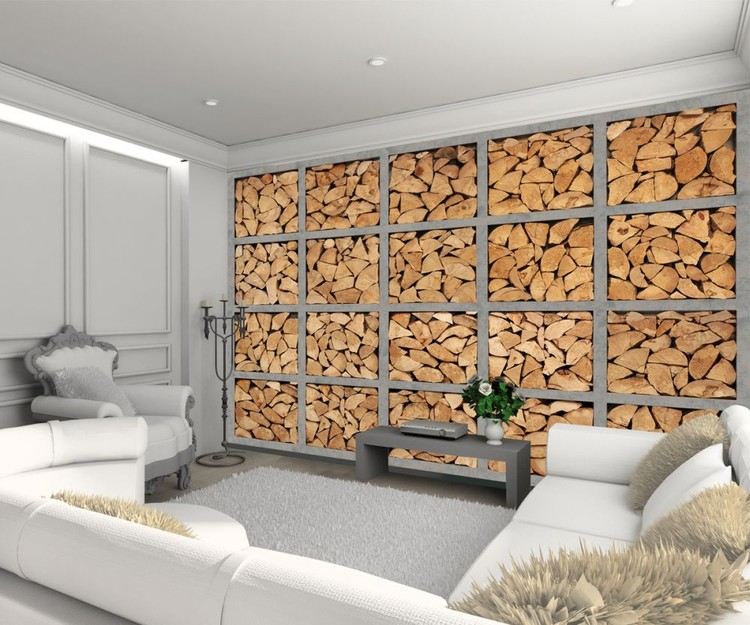 Light industrial log wall Wallpaper Mural