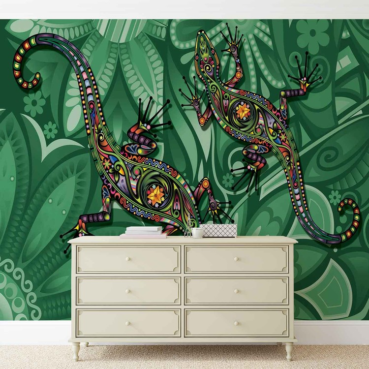 Lizards Flowers Abstract Colours Wallpaper Mural