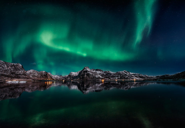 Lofoten Aurora Reflection Wallpaper Mural