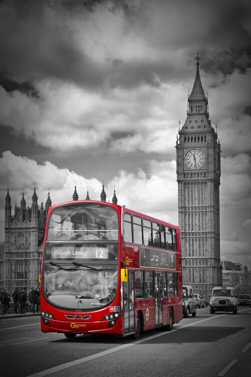LONDON Houses Of Parliament & Red Bus Wallpaper Mural
