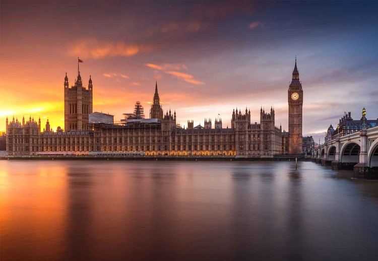 London Palace Of Westminster Sunset Wallpaper Mural